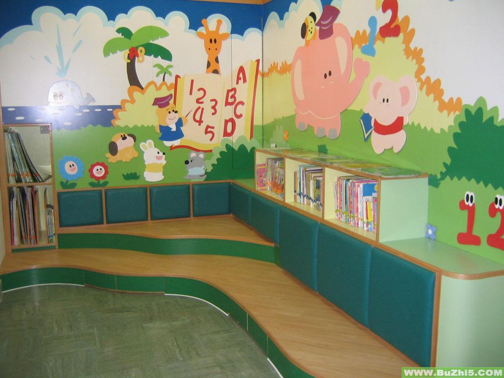 幼儿园教室墙面设计; 图书角