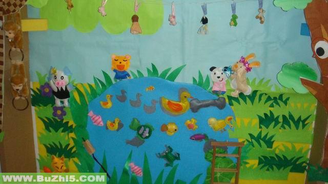 幼儿园盥洗室图片_池塘边小班冬天墙面布置