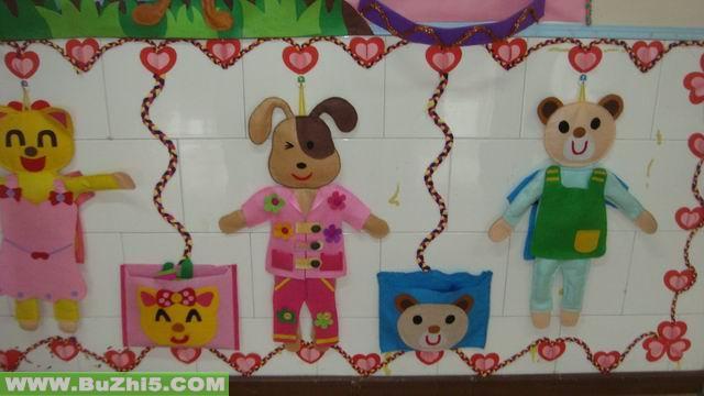 小动物换衣服互动墙饰图片;;