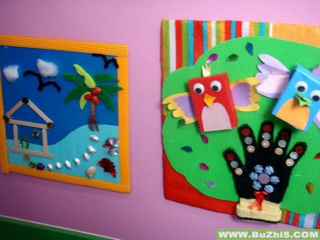 幼儿园中班墙面布置_废旧材料制作中班墙面布置图片