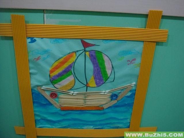 幼儿作品之帆船墙面设计图片
