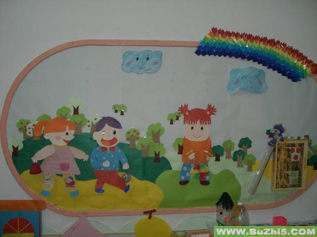 幼儿园小班墙面装饰:放气球的小动物_乐乐简笔画