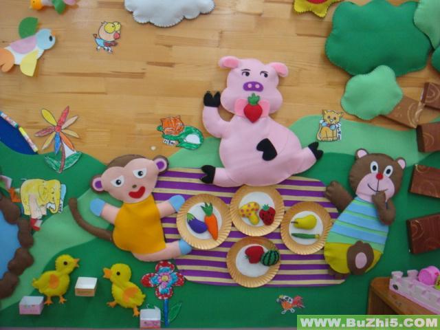 幼儿园墙面布置  小动物聚餐墙面设计图片下载说明:在图片上点击鼠标