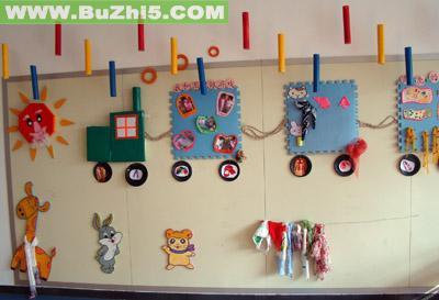 小动物乘火车墙面设计图片