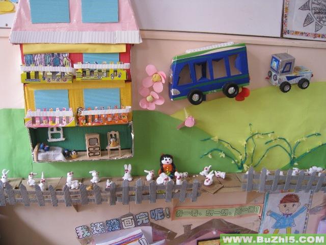 幼儿园墙面设计图片:双层汽车