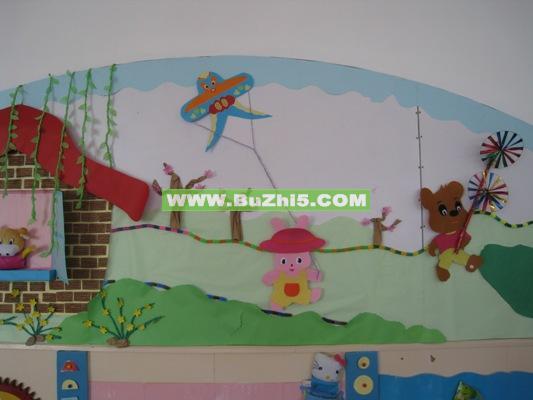 幼儿园墙面布置  放风筝中班墙面布置图片(第3页)