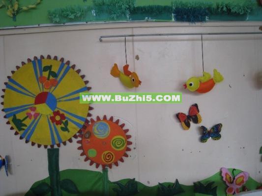 幼儿园美工区_齿轮转转转小班冬天墙面布置
