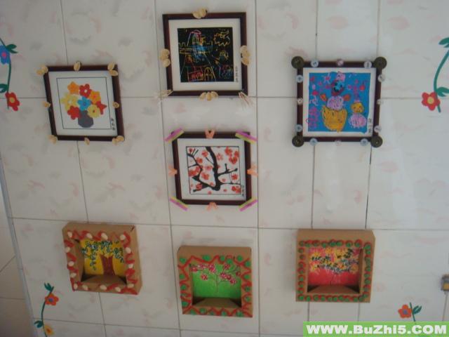 艺术画作品展墙面布置图片