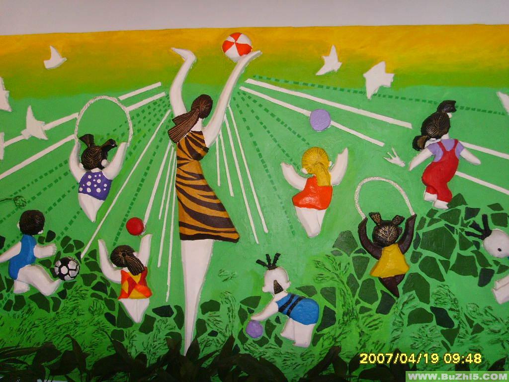 幼儿园盥洗室图片_游戏墙面设计图片