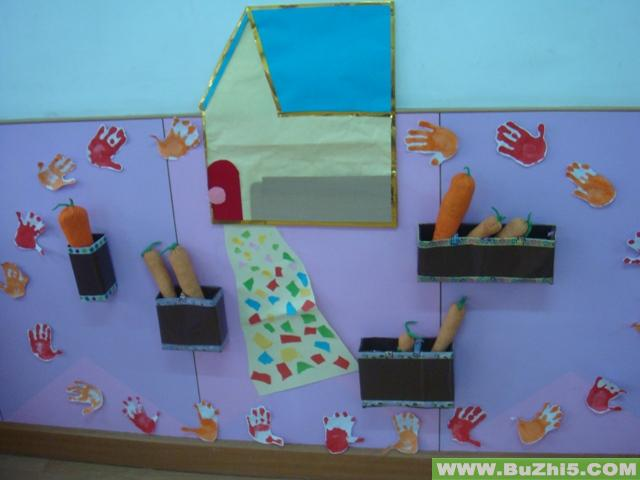 幼儿园中班墙面布置_小兔子的家中班墙面图片