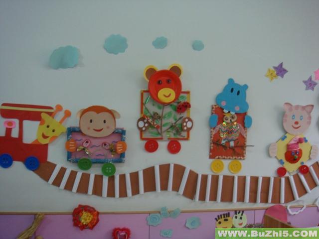 墙面布置:动物小火车;