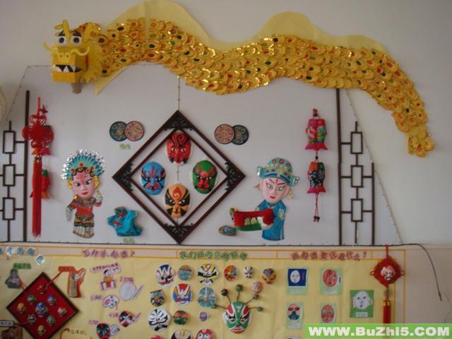 京剧脸谱; 幼儿园大班墙面设计