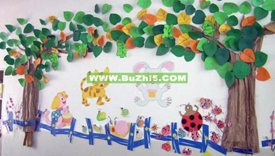 小动物联欢会墙面设计图片