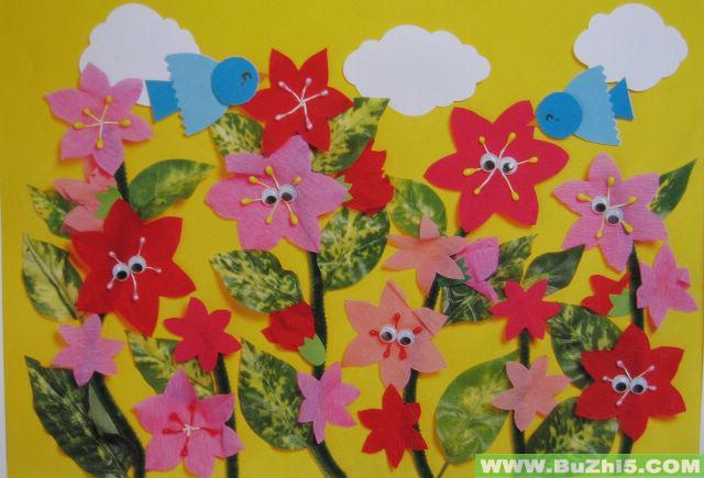 美丽的鲜花中班墙面图片