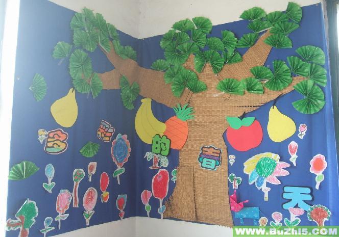 幼儿园墙面布置  多彩的春天中班春天墙面布置图片下载说明:在图片上