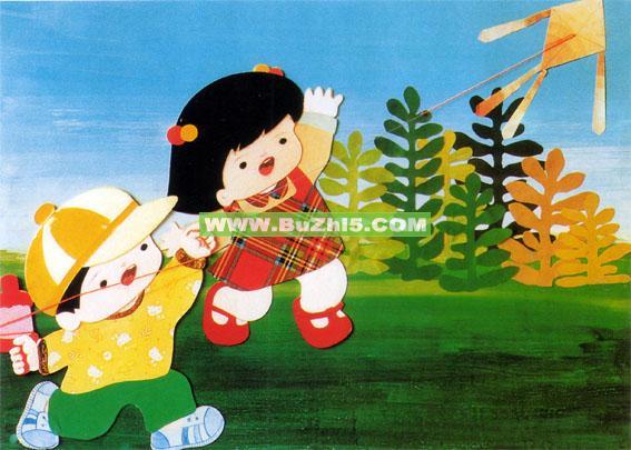 幼儿园墙面布置  放风筝中班墙面布置图片下载说明