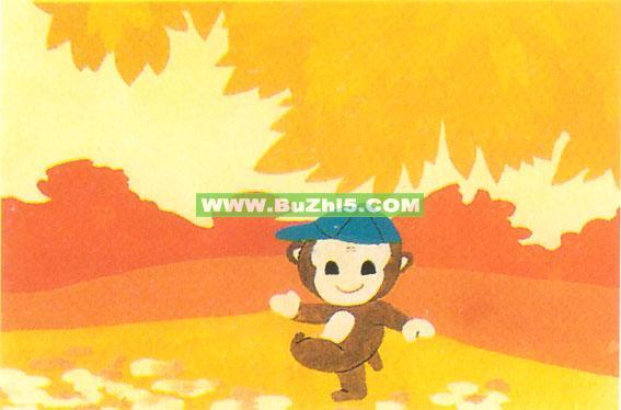 秋天小猴子墙面装饰画