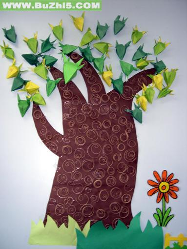 折纸树墙面布置图片