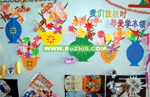 幼儿剪纸作品墙面布置图片
