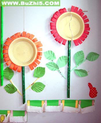 两棵向日葵墙饰布置图片