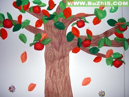 幼儿园墙面大树布置图片