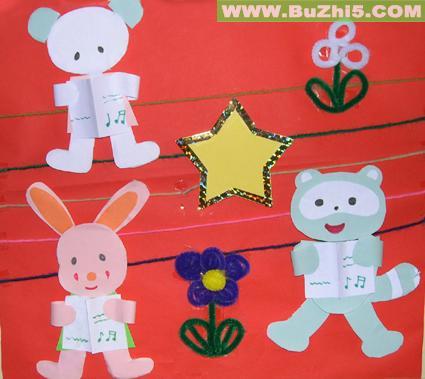 三只小动物墙面布置图片