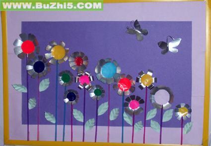 花与蝴蝶装饰画中班墙面设计图片