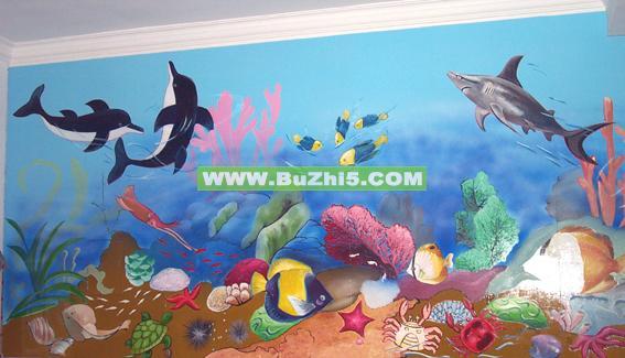 幼儿园墙面海底世界图片