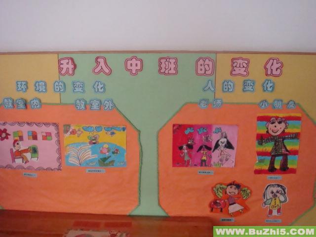 幼儿园主题墙面布置图片:升班的变化-幼儿园主; 幼儿园中班主题墙布置