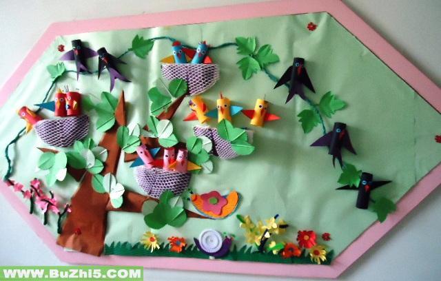 幼儿园环境布置墙面:小鸟的家;