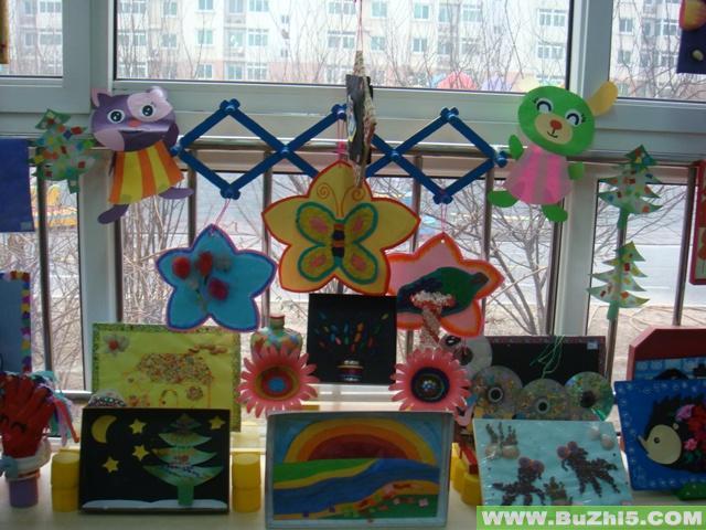 中班手工绘画展示活动室布置