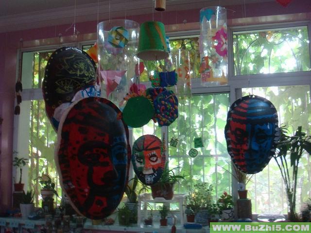 幼儿园环境布置情侣; 幼儿园瓶子吊饰图片