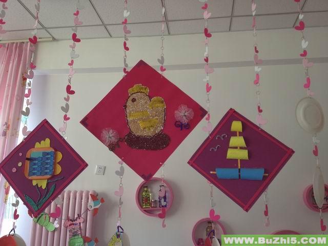 小草小鸡和船吊饰活动室吊饰布置