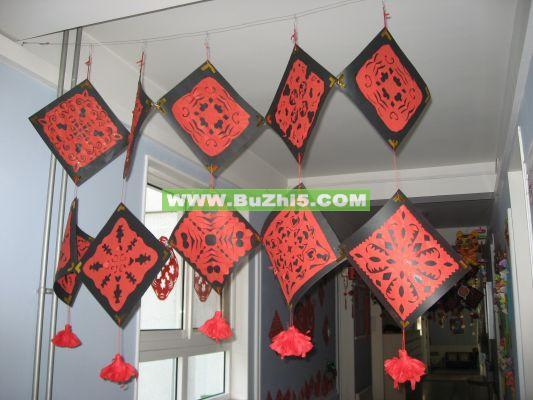 新年中国红图案吊饰走廊吊饰布置