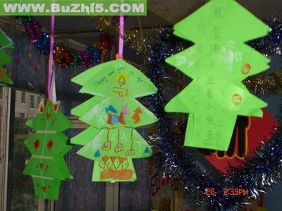 手工圣诞树吊饰中班吊饰布置