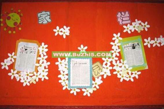 白色花朵连成片布置小班家园栏布置