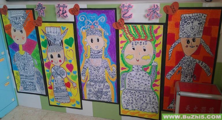 幼儿园墙面美术作品布置下载说明:在图片上点击