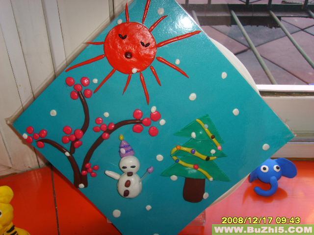 幼儿园橡皮泥贴画:温暖的太阳;