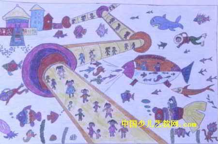 儿童画画大全 儿童水彩画  《海底旅游》儿童画3幅下载说明:在图片上