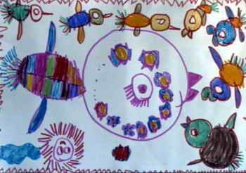 《跟着老师学唱歌》儿童画作品欣赏