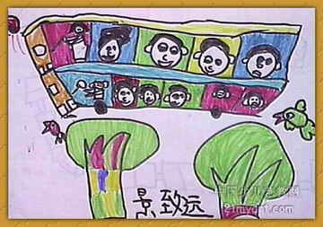 《我们坐车去旅行》儿童画作品欣赏
