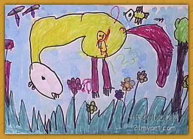 """""""马""""儿童画7幅"""