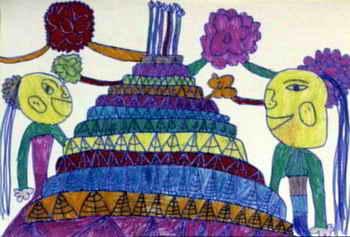 《妈妈送我的大蛋糕》儿童画作品欣赏