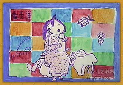 我喜欢小白兔 儿童画