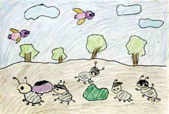 《可爱的小蚂蚁》儿童画属于油画棒画