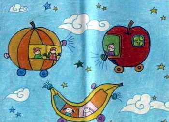 《水果汽车》儿童画