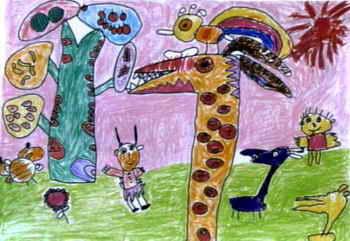 儿童画画大全 儿童水彩画  《恐龙乐园》儿童画4幅(第3页)下载说明:在