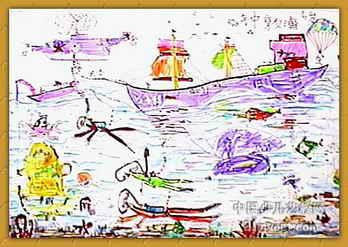 《海阔天空》儿童画2幅