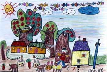 《美丽的风景》儿童画2幅