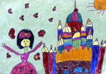白雪公主和城堡 儿童画